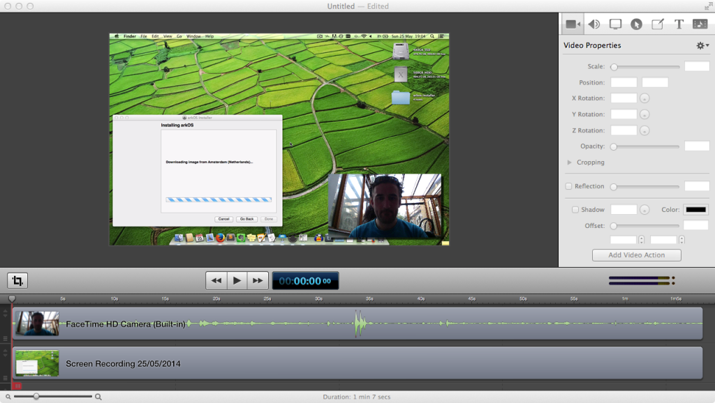 Screenshot of Screenflow showing the editing interface
