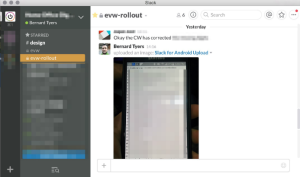 A screenshot of the Slack messaging channel used for the launch of the EVW private beta