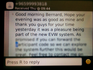 A screenshot of an SMS from a user research participant