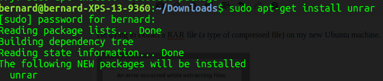 a screenshot of my computer display showing the command to install unrar from the commandline